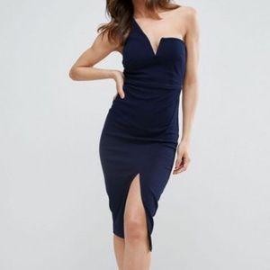 Navy off the shoulder dress